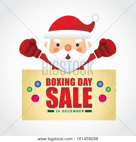 Happy Boxing Day. Cute santa claus wearing boxing gloves with boxing day sale text isolated on white. Vector illustration of boxing day sale.