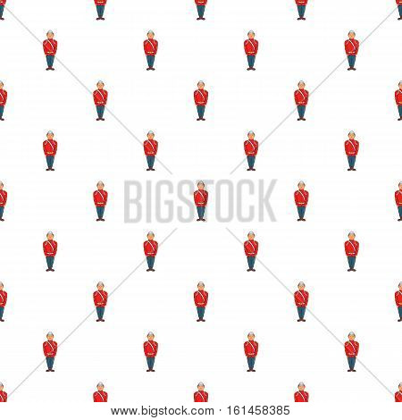Man in a red jacket and metal helmet, army uniform 19th century pattern. Cartoon illustration of man in a red jacket and metal helmet vector pattern for web