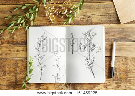 Collection of plants and sketchbook with drawings on wooden background