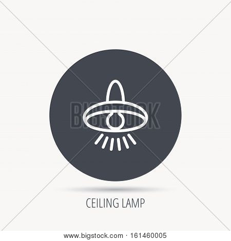 Ceiling lamp icon. Light illumination sign. Round web button with flat icon. Vector