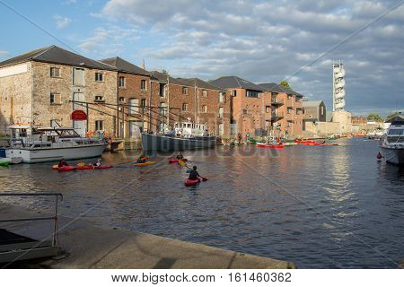 EXETER UK 12 July 2016: People kayaking in the harbor. Exeter. England