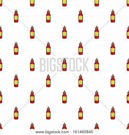Glass bottle of liquid for electronic cigarette pattern. Cartoon illustration of glass bottle of liquid for electronic cigarette vector pattern for web