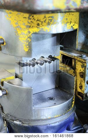 Hydraulic Press. Steel die for crimping metal cables. Manufacture of lifting devices.