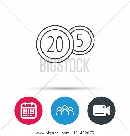 Coins icon. Cash money sign. Bank finance symbol. Twenty and five cents. Group of people, video cam and calendar icons. Vector