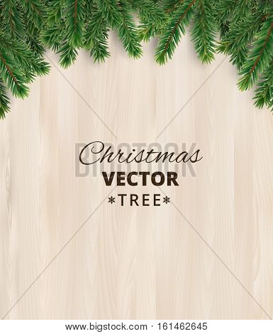 Christmas tree branches on wooden background, vector illustration. Realistic fir-tree border, frame. Great for christmas cards, banners, flyers, party posters.