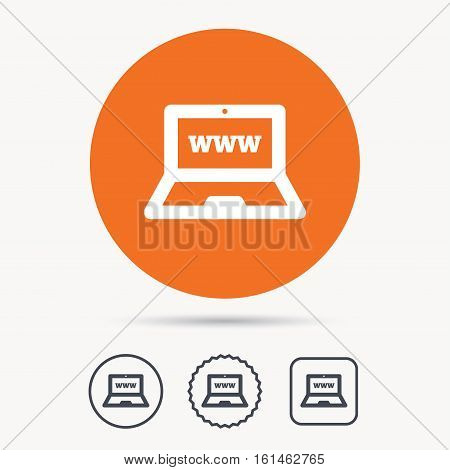 Computer icon. Notebook or laptop pc symbol. Orange circle button with web icon. Star and square design. Vector