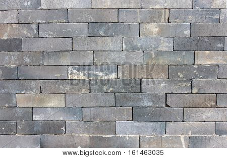 closeup grey brickwall with sunlight for background