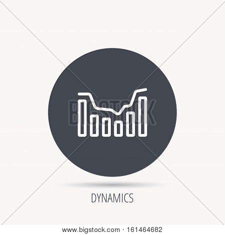 Dynamics icon. Statistic chart sign. Growth infochart symbol. Round web button with flat icon. Vector