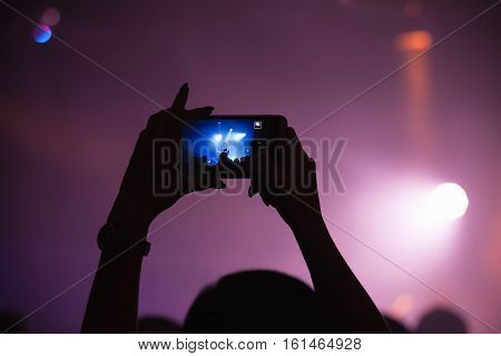 Taking Photo On A Smartphone Camera