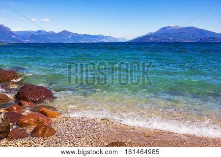 Beautiful emerald  lake Garda  in Italy. Lake Garda is the largest lake in Italy.