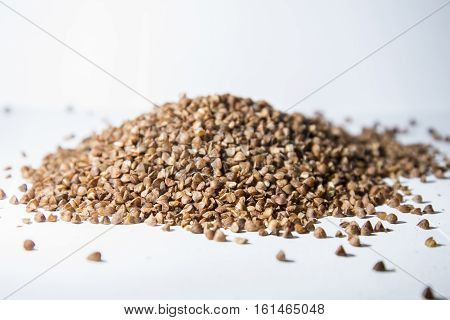 Buckwheat Is Scattered On The Table.