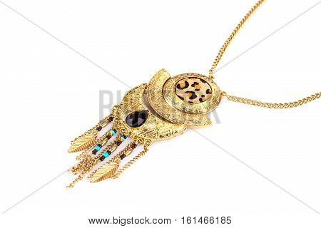 Tribal necklace isolated on hite background, close up picture.