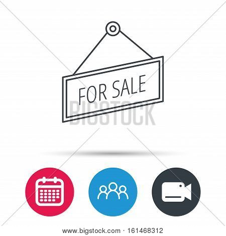 For sale icon. Advertising banner tag sign. Group of people, video cam and calendar icons. Vector
