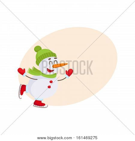Cute and funny little snowman ice skating happily, cartoon vector illustration isolated with background for text. Happy ice skating snowman in hat and mittens, Christmas season decoration element