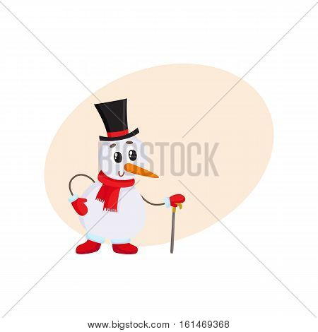 Cute and funny little snowman in cylinder hat leaning on a cane, present, cartoon vector illustration with background for text. Funny snowman in black hat with cane, holiday decoration element