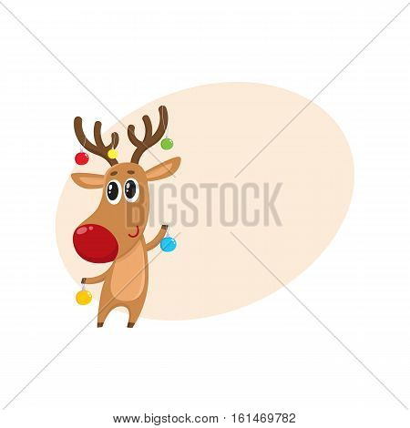 Funny reindeer holding balls for Christmas tree decoration, cartoon vector illustration isolated with background for text. Red nosed deer with Christmas tree balls, holiday decoration element