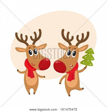 Two Christmas reindeer with a red scarf and green fir tree, cartoon vector illustration isolated with background for text. Christmas red nosed deer, holiday decoration element