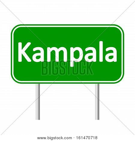 Kampala road sign isolated on white background.