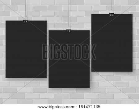 Posters Set On Binder Clips Black Mock Up Brick Wall Grey