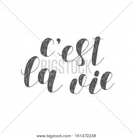 C est la vie. That is life in French. Brush hand lettering illustration. Inspiring quote. Motivating modern calligraphy. Can be used for posters, clothes, prints, home decor, cards and more.