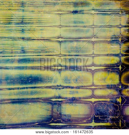 Art grunge background or vintage style texture with retro graphic elements and different color patterns: yellow (beige); brown; blue; purple (violet); black; cyan