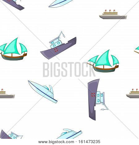 Yachts and maritime transport pattern. Cartoon illustration of yachts and maritime transport vector pattern for web