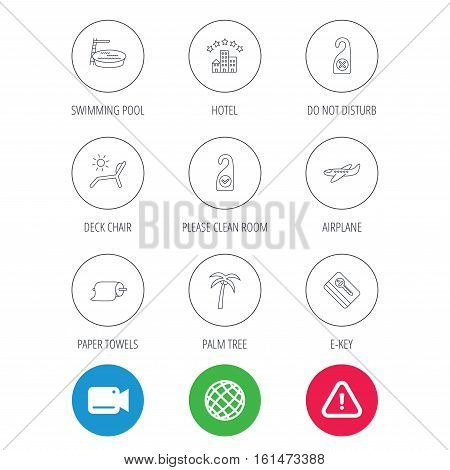 Hotel, swimming pool and beach deck chair icons. E-key, do not disturb and clean room linear signs. Paper towels, palm tree and airplane icons. Video cam, hazard attention and internet globe icons