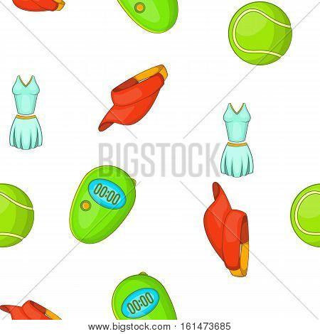 Tennis equipment pattern. Cartoon illustration of tennis equipment vector pattern for web