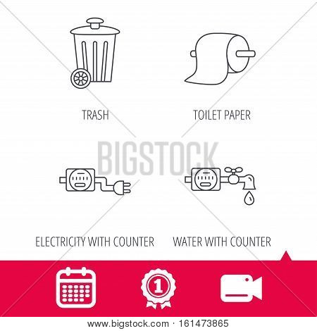 Achievement and video cam signs. Trash bin, electricity and water counter icons. Toiler paper linear sign. Calendar icon. Vector