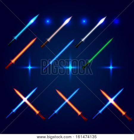 Isolated blue and red color cossed light swords logo set. Futuristic movie weapon logotype. Sabre with fire force icon. Lightsaber signs collection. Scifi shiny neon longsword vector illustration