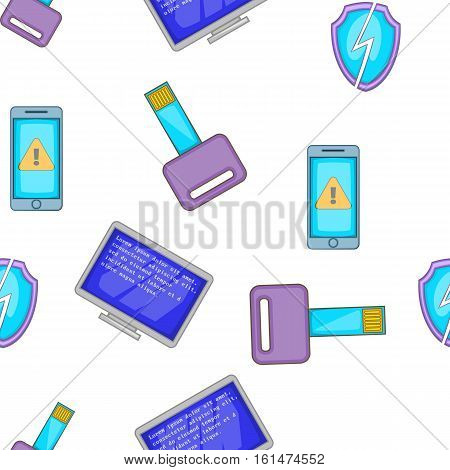 Hacking elements pattern. Cartoon illustration of hacking elements vector pattern for web