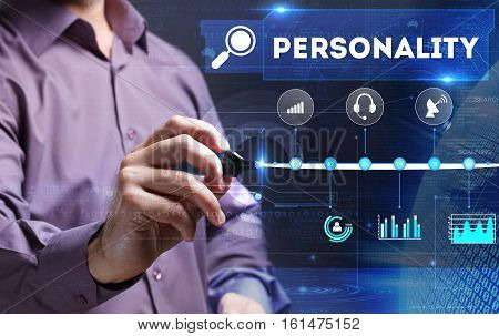 Technology, Internet, Business And Marketing. Young Business Person Sees The Word: Personality