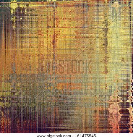 Weathered grunge elements on vintage texture for your design. Aged background with different color patterns: yellow (beige); brown; gray; red (orange); purple (violet); pink