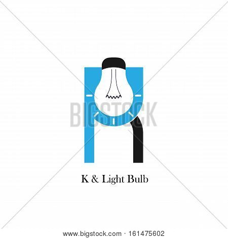 K-letter/alphabet icon and light bulb abstract logo design vector template.Corporate business and industrial logotype idea concept.Vector illustration