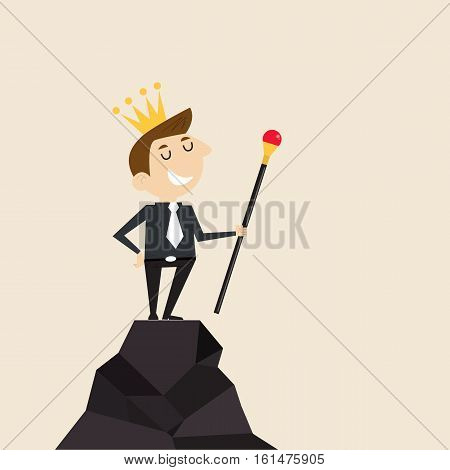 ManagerOffice Worker or businessman stand on the top of mountain and hold the scepter in his hand with the crown on his head. Concept of business success/accomplishment/achievement or leadership.Vector flat design illustration