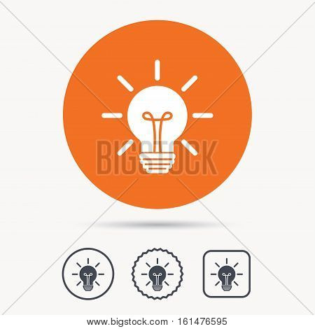 Light bulb icon. Lamp sign. Illumination technology symbol. Orange circle button with web icon. Star and square design. Vector