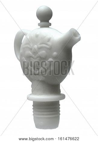 Floral teapot wine bottle stopper on white background