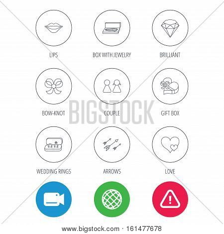 Love heart, gift box and wedding rings icons. Kiss lips and couple linear signs. Valentine amour arrows, brilliant flat line icons. Video cam, hazard attention and internet globe icons. Vector