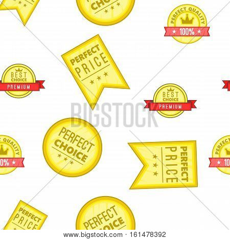 Perfect choice and price labels pattern. Cartoon illustration of perfect choice and price labels vector pattern for web