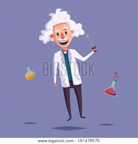 Crazy old scientist. Funny character. Cartoon vector illustration. Mad professor. Science experiment. Remote controller. Zero gravity