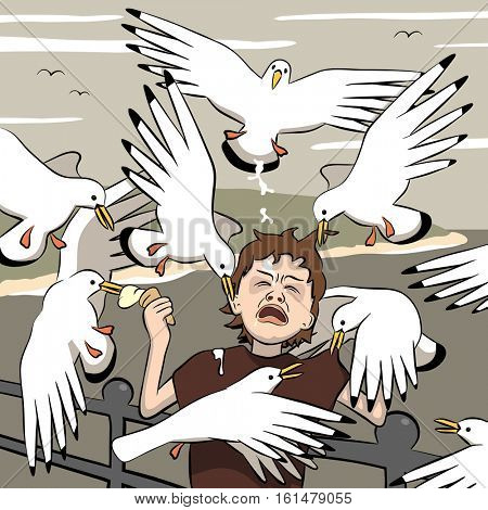 Vector illustration of a young boy getting mobbed by gulls after his ice-cream