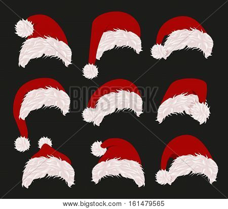 Collection of red santa hats. Vector illustration. New year accessory on black background. Isolated winter holiday costume element. Merry christmas masquerade clothing