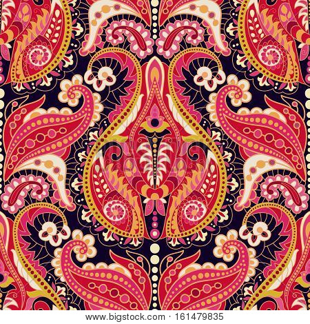 Seamless Paisley Background, Floral Pattern. Ornament