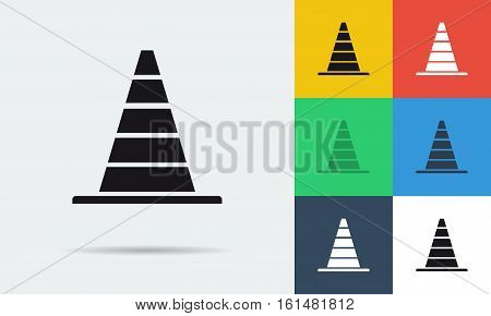 Vector colored and monochrome parking cone icon in flat style. Use for transportation, traffic theme and driving school