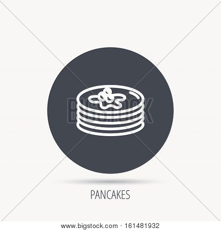 Pancakes icon. American breakfast sign. Food with maple syrup symbol. Round web button with flat icon. Vector