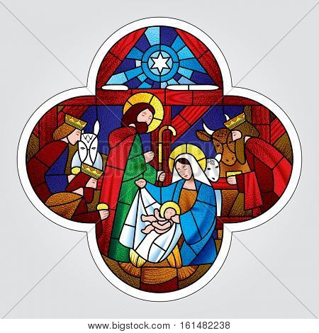 Cross shape with the Christmas and Adoration of the Magi scene in stained glass style