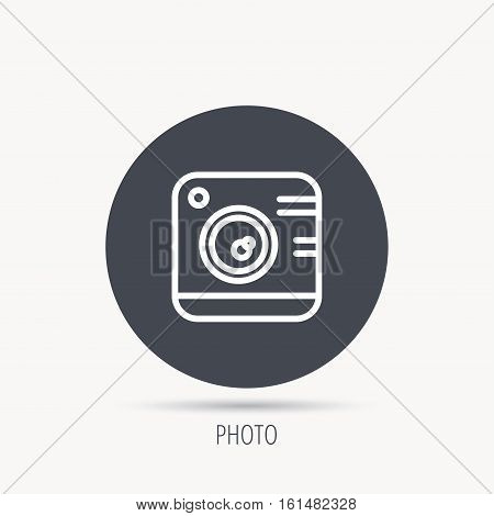 Vintage photo camera icon. Photography sign. Professional studio equipment symbol. Round web button with flat icon. Vector
