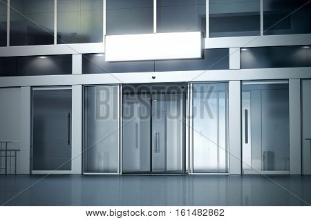 Blank light box above the store with opened automatic glass doors entrance mockup 3d rendering. Commercial nightly business center entry sign board mock up. Opened illuminated facade front view.