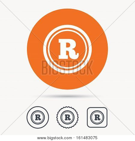 Registered trademark icon. Intellectual work protection symbol. Orange circle button with web icon. Star and square design. Vector