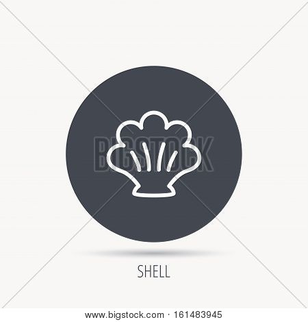 Sea shell icon. Seashell sign. Mollusk shell symbol. Round web button with flat icon. Vector